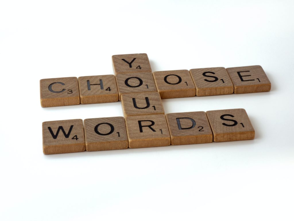 How is choosing your words as a tool in meditation important?